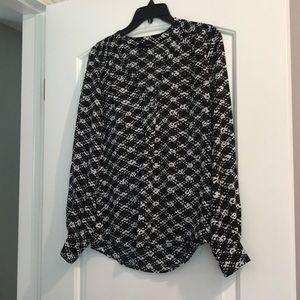 Aqua black and white blouse